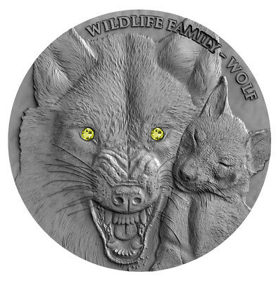 WOLF - WILDLIFE FAMILY - 2017 1 oz Ultra High Relief Silver Coin with Swarovski