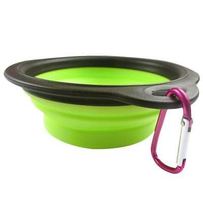 Dog Cat Pet Silicone Collapsible Travel Feeding Bowl Water Dish Feeder Green New