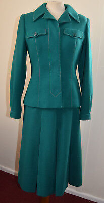 Fabulous VINTAGE 1960s ALEXON Green Pure Wool Skirt Suit, Immaculate. Size UK 10
