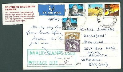 1970 postcard - RHODESIA to Falmouth with Postage Dues and Invlaid stamps label