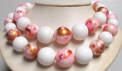 Vintage 50's Chunky Plastic Lucite Bead Necklace White Pink Gold Multi 2 Strand