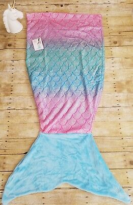 Justice Shimmery Ombré Mermaid Tail Blanket NWT