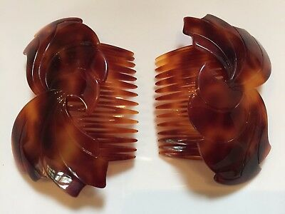 Pair of Vintage French Hair Combs Decoration Faux Tortoiseshell Celluloid