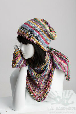 Hand Knit SET / Multi-Color / Triangular shawl / Slouchy Hat.