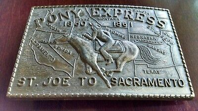 Pony Express Brass Belt Buckle Western 1860-1861 Us Mail Map St Joe - Sacramento