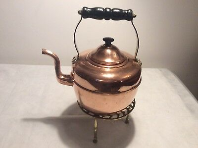 Antique / Vintage Copper Kettle + Brass Trivet.   Welsh Ladies