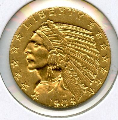 Beautiful 1909 Indian Head $5 90% Gold Coin Raw Uncertified RR668