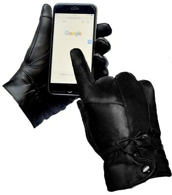 Womans Genuine Leather Ladies Gloves Touch Screen Winter Driving Black Girls