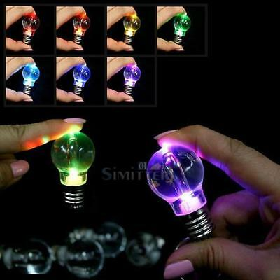 New Lovely Clear 7 Colors LED Light Lamp Bulb Keychain Silver