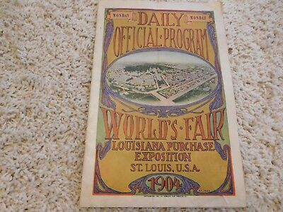1904 Daily Official Program World's Fair Louisiana Purchase Exposition St Louis