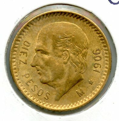 Amazing 1906 Gold $10 Peso Coin RR272