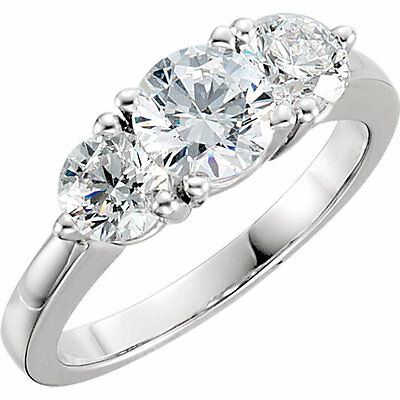 3.00 carat 3 Stone Round Diamond Engagement Wedding RIng F color SI1 clarity