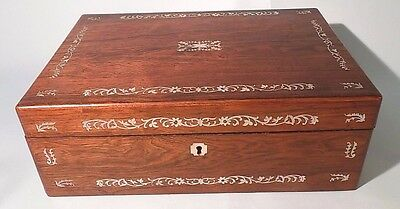 Antique Rosewood Mother of Pearl Inlaid Writing Slope Box Desk. Top Quality.