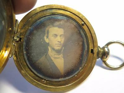 10k Gold Pocket Watch Form Locket w/ Daguerreotype Photo of a Man