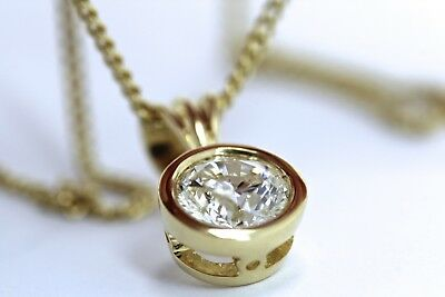 New 18ct Yellow Gold 1.0ct Natural Diamond Pendant and 18ct Gold Chain