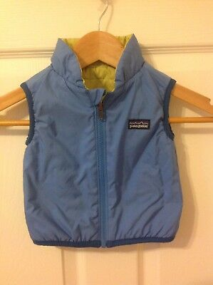 Cute! Patagonia Reversible Puffer Vest, Slate Blue/greenish Yellow, 3 Months!