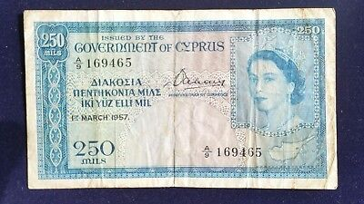 Cyprus Banknote 250 Mils 1957 Extremely Rare