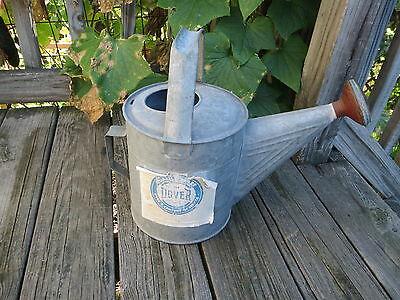 Vintage Galvanized Watering Can With Brass Sprinkler