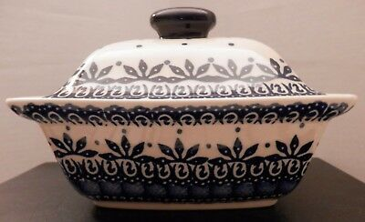 """Vintage Boleslawiec Polish Pottery Covered Serving Dish 7""""x5"""" Never used"""