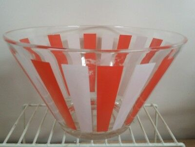 Large clear glass salad  heavy bowl with orange and white stripes vintage retro