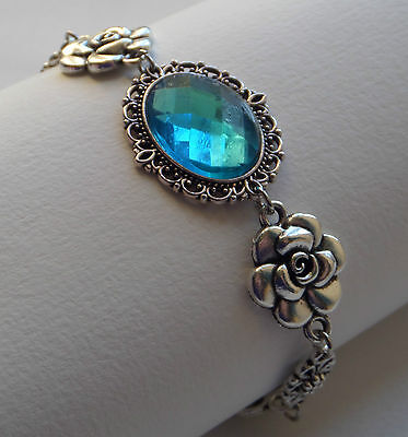 Camellia Filigree Victorian Style Faceted Turquoise Silver Plated Bracelet Cfb