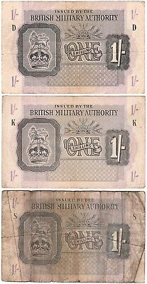3 British Military Authority 1/- One Shilling Banknotes D K & S Prefix Wwii Fair