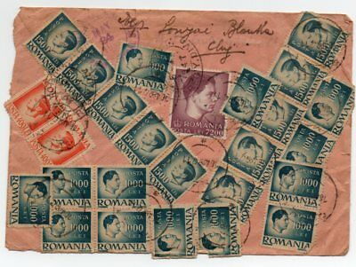 Romania 1947 registered multifranked inflation cover to US