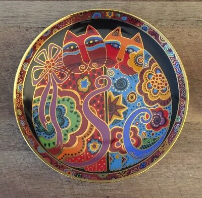 Laurel Burch Cat 🐱 Plate Franklin Mint Vintage 1990s Check To Check