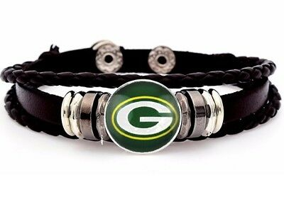 Green Bay Packers Mens Womens Black Brown Leather Bracelet Football w GiftPg D14