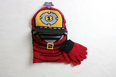 TOBY & CO Boy's Firefighter Reversible Peaked Balaclava & Gloves RED 2T-4T