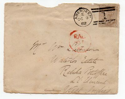 St Vincent RAB (Rabacca) abbreviated cancel on 1882 incoming FRONT from Scotland
