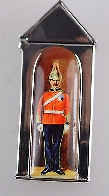 Solider in Sentry Box Sterling Silver & Enamel Match Safe Vesta Collectable
