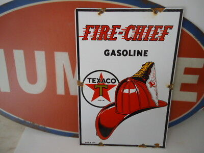 Large Texaco Fire - Chief Gasoline Porcelain Pump Sign   (Super Nice)