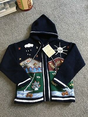 Boys Or Girls hand knit cardigan, age 4 - 5 years New with tags