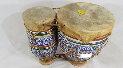 Genuine VINTAGE AFRICAN CERAMIC THUMB BONGO DRUMS ANIMAL SKIN TOPS