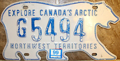 1999 Government Vehicle Licence Plate - Northwest Territories - G5494