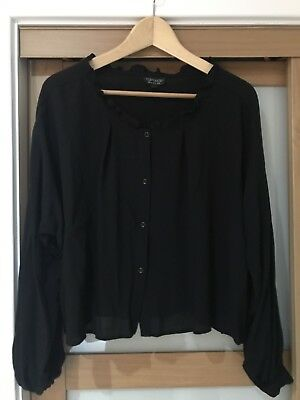 Topshop Black Frill Blouse Top Size 8