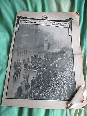 Manchester Evening News. 15th February 1952. King George V1 Funeral. Royalty.