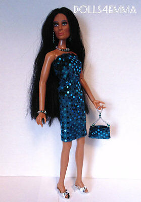 Mego CHER Doll Clothes HM Sexy Teal DRESS PURSE & JEWELRY Fashion NO DOLL d4e