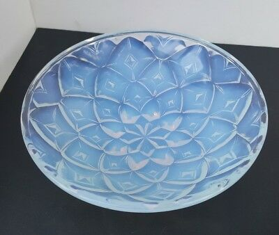 Vintage Art Deco French Glass CHOISY LE ROI Geometric Opalescent Bowl Hunebelle