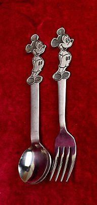 Vintage WALT DISNEY MICKEY MOUSE BABY SPOON & FORK, STAINLESS BY BONNY