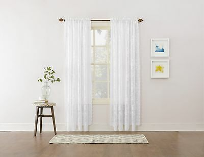 Easy Care Fabrics Classic Scalloped Floral Lace Curtain 58-Inch X 84-Inch White