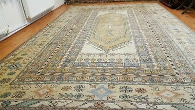 Masterpiece Antique Cr1930-1949s Muted Colors 9x13ft Wool Pile Oushak Rug