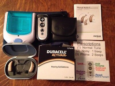 2 PHONAK NAIDA Q50 SP Hearing Aids  REMOTE,  Cases, batteries & Dryer used twice