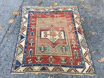 ANTIQUE 1860s Tribal Shirvan Kuba Caucasian Rug Kazak Very Rare 3x4 Beauty