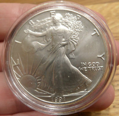 1991 American USA 1oz Troy Ounce Pure Silver $1 One Dollar Liberty Eagle Coin