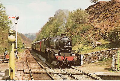 Postcard of Train approaching Goathland Station, North Yorkshire Moors Railway