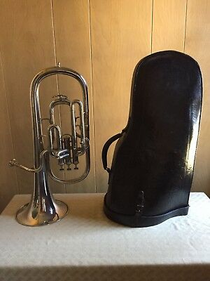"M. SLATER CORNET / TUBA ""E"" FLAT & LEATHER CASE - EARLY 1900's"