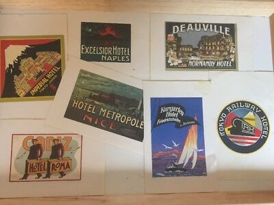 Luggage Label - Lot Tokyo, France, Rome 7 Large Vintage Travel Stickers