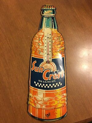 Vintage Sun Crest Thermometer,SIGN,very nice condition,1930-40's. Please look !!